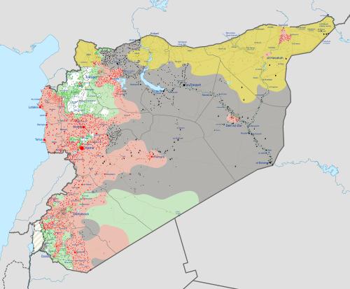 Syrian civil war as of 08-2016